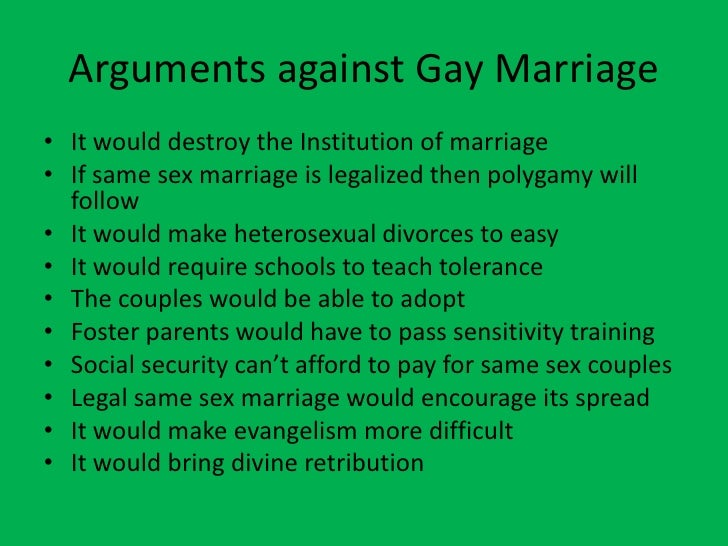 What are all the arguments against gay marriage? - Quora