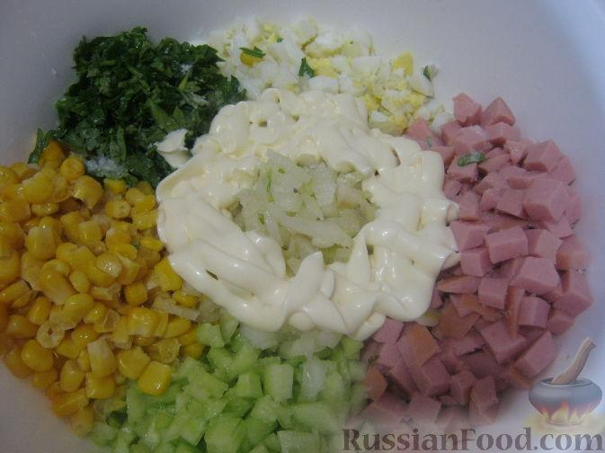 Салаты с колбасой и кукурузой рецепты