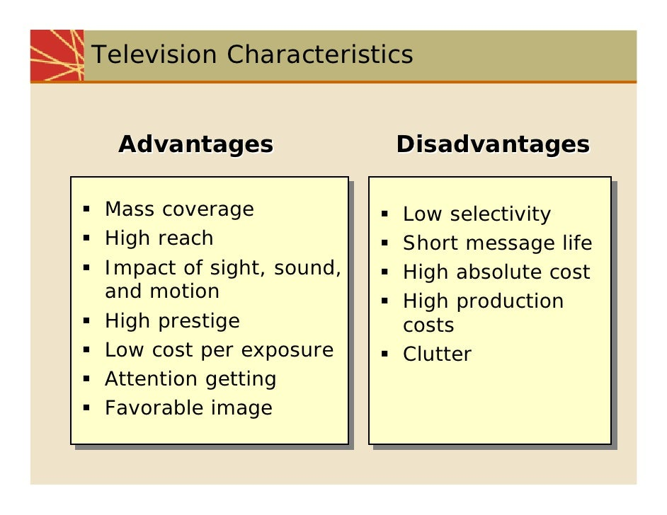 i want advantages and disadvantages of television in