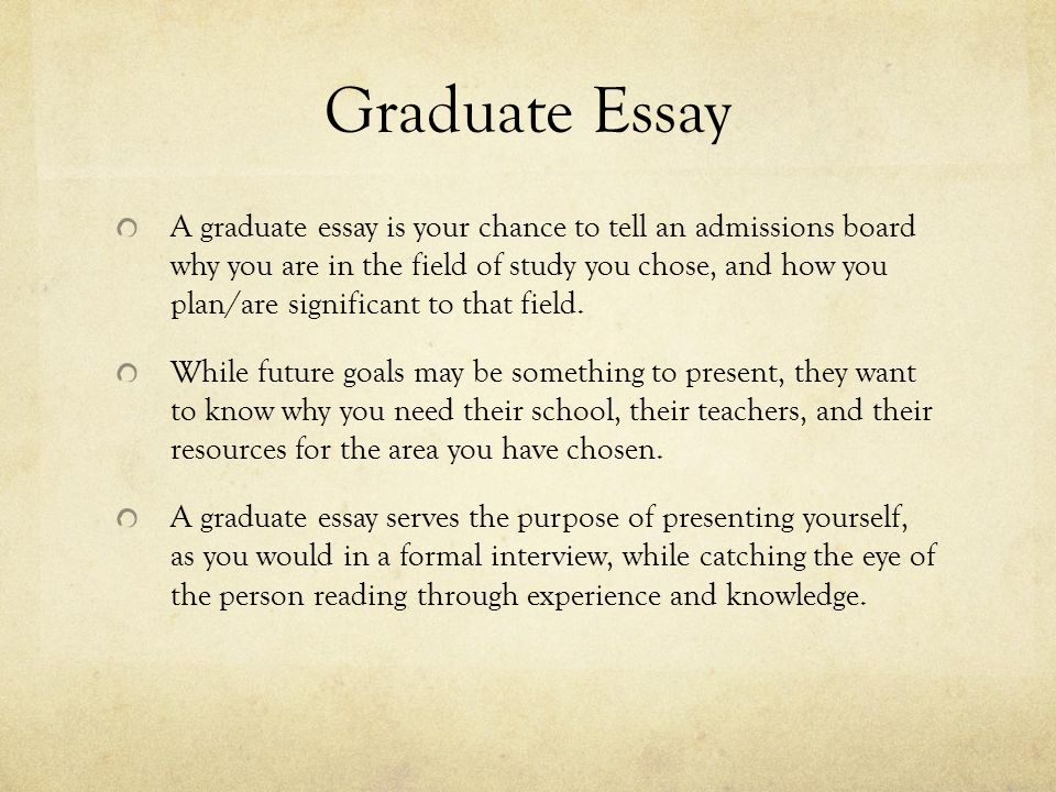Grad school application essays
