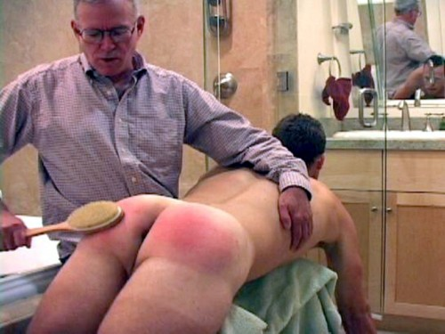 Spanked wife ass red wet