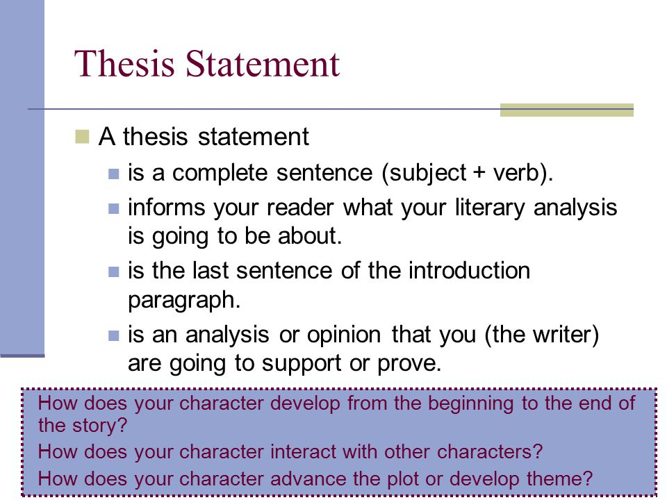 The Writing Center, Thesis/Purpose Statement - Owens