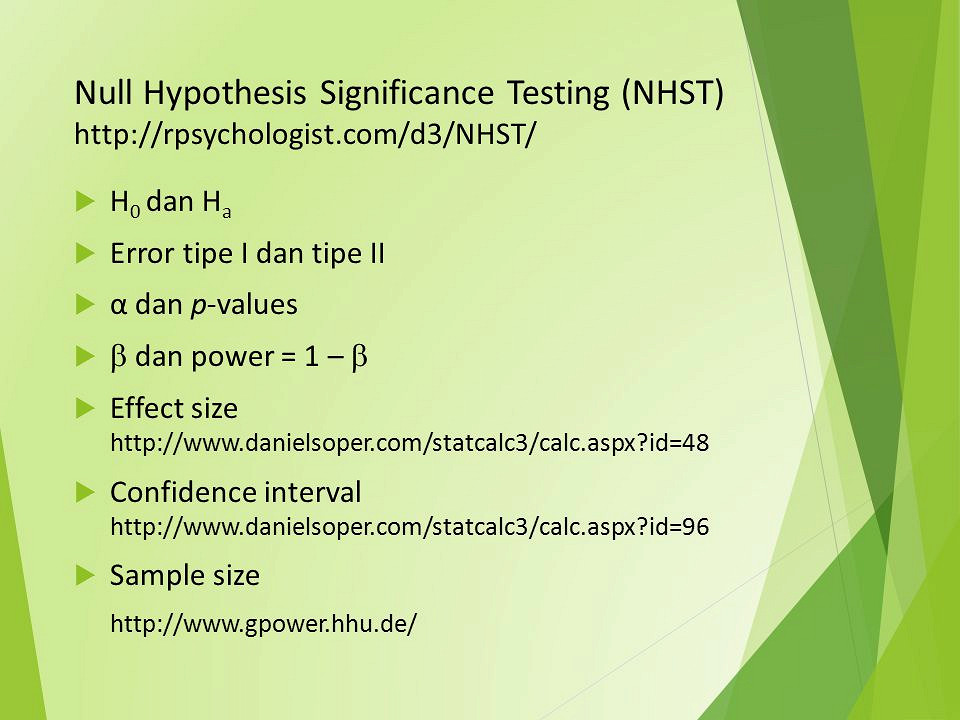 Hypotheses Power and Sample size - floppybunnyorg