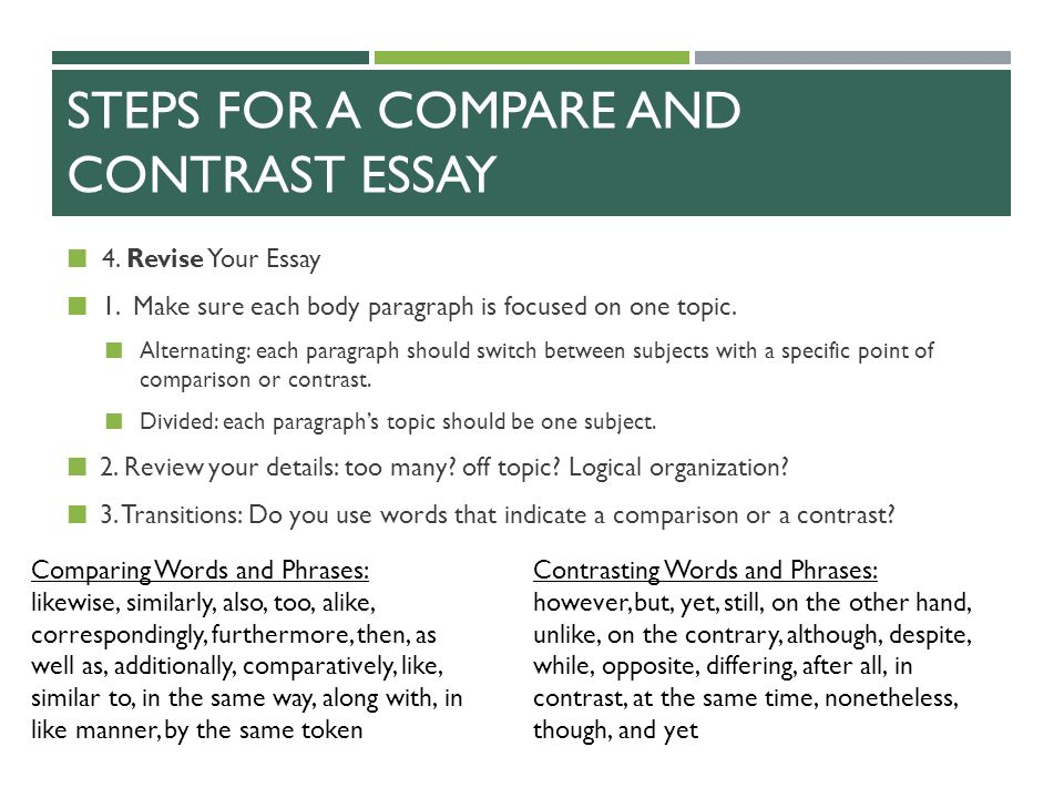 Write my good comparison and contrast essay topics