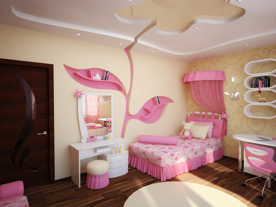 Pink bedroom wall designs