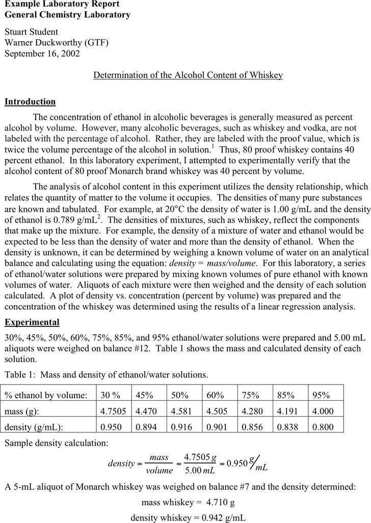 Chem 101 Sample Lab Report - Clinton Community
