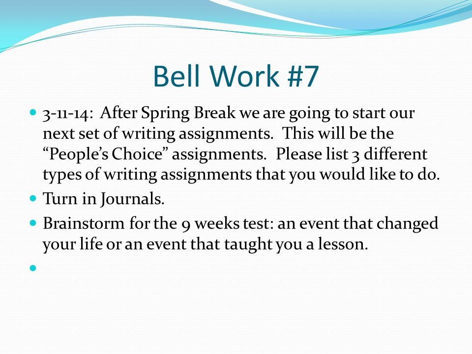 Write my essays on spring break
