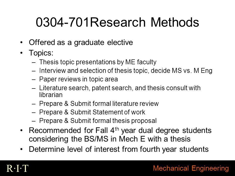 Mechanical engineering thesis topics
