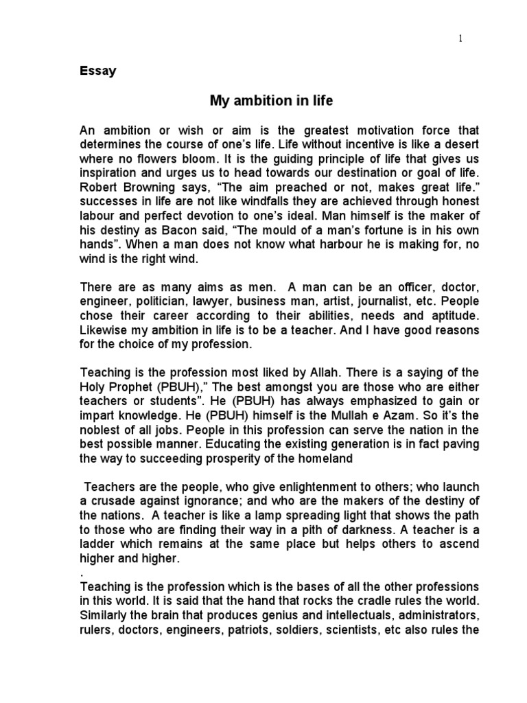 essay about ambition in life
