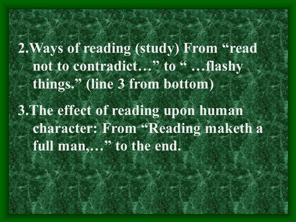 reading makes a full man