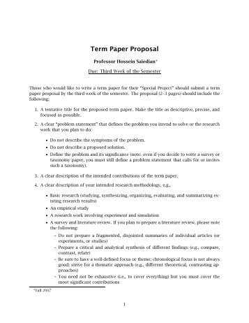 Proposal term paper