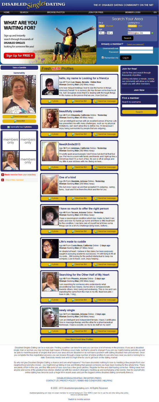 dating website for handicappede amerikansk single dating hjemmeside