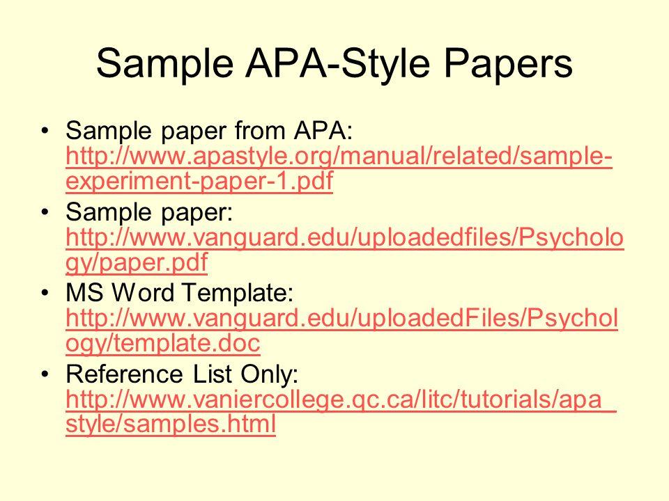 Sample thesis apa style