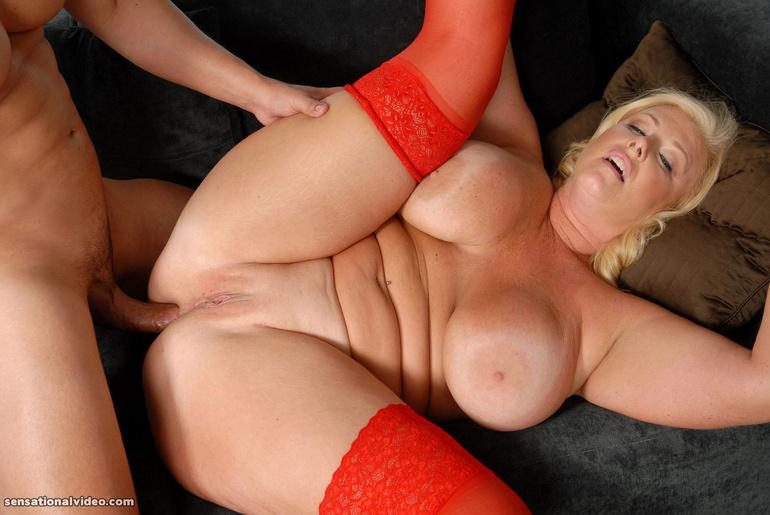 Redhead housewife getting big white cock