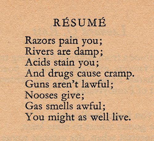 The resume by dorothy parker - Lynxbus - resume by dorothy parker
