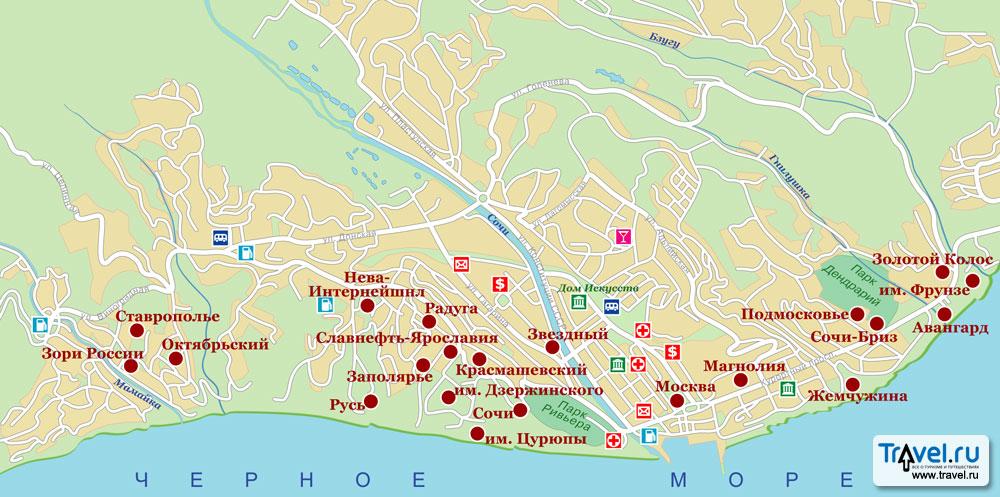 санатории сочи на карте города