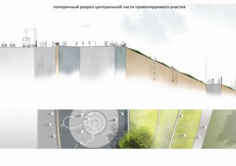 Реконструированная смотровая в разрезе и сверху
