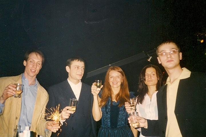 Фотография с пресс-конференции по случаю дня рождения клуба, 1996 год