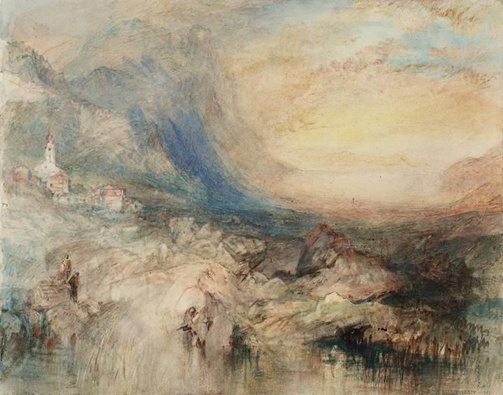 Вид Гольдау с озером Цуг вдалеке. Уильям Тернер, 1842