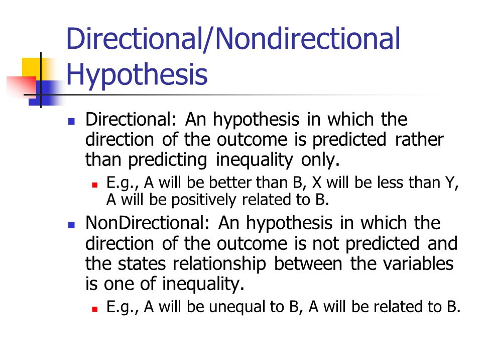 Write my example of directional hypothesis