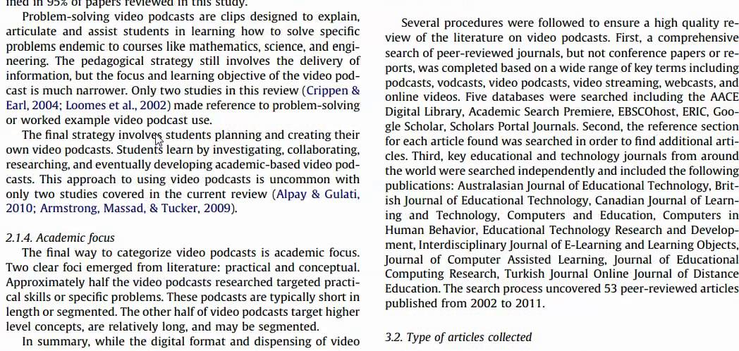 Literature review of a journal article