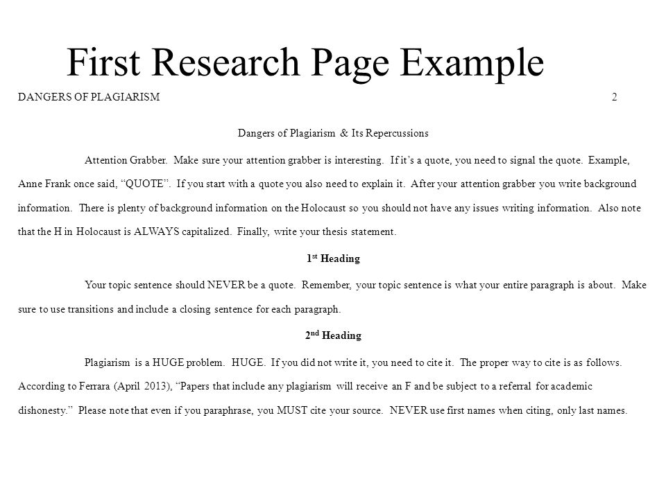 Proper title page for research paper