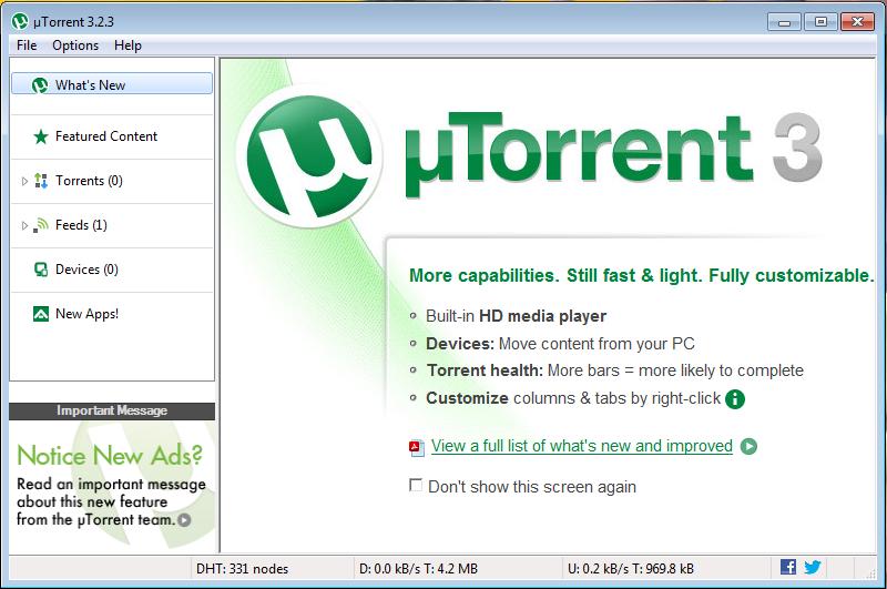 μTorrent (uTorrent) - a (very) tiny BitTorrent client