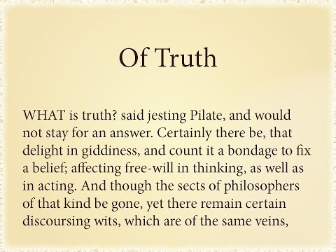 Francis bacon essay of truth summary