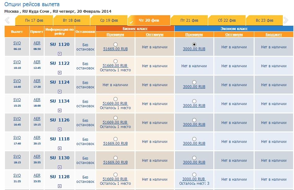 Фантастически дешевые премиум-авиабилеты в Сочи (Аэрофлотом) -- есть почти на