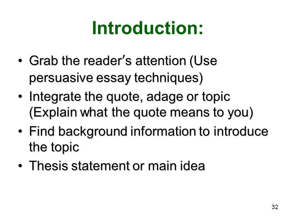 Techniques for Persuasive Argumentative Essay Topics
