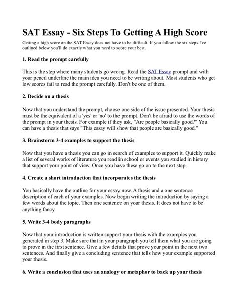 List of examples for SAT Essay? — College Confidential