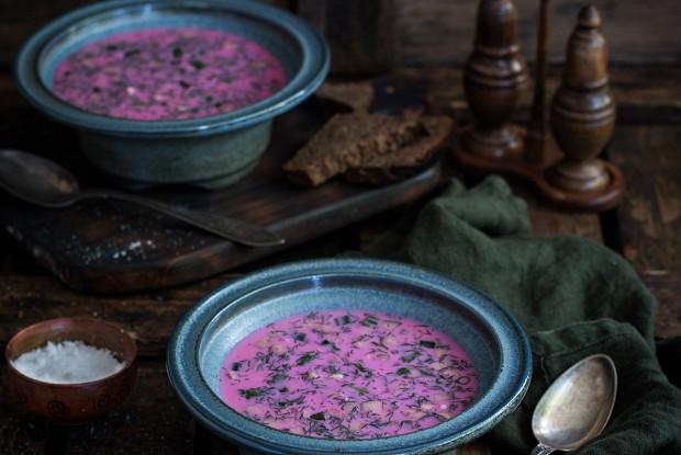 Холодный летний суп со свеклой и кефиром (диетический вариант)
