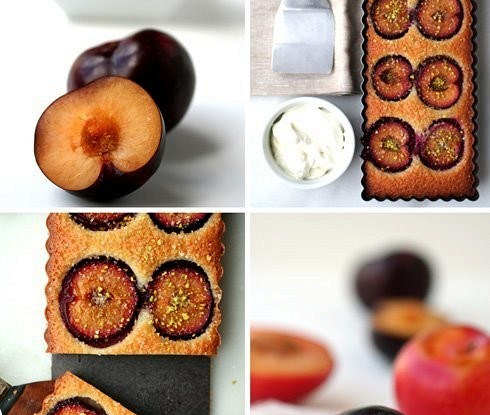 Клафути с шоколадом и сливами