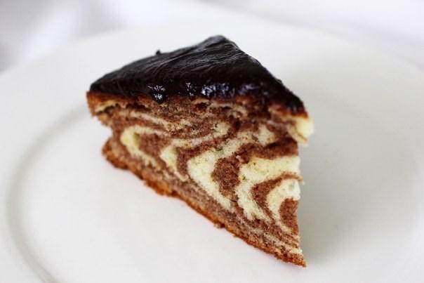Торт «Зебра» с глазурью