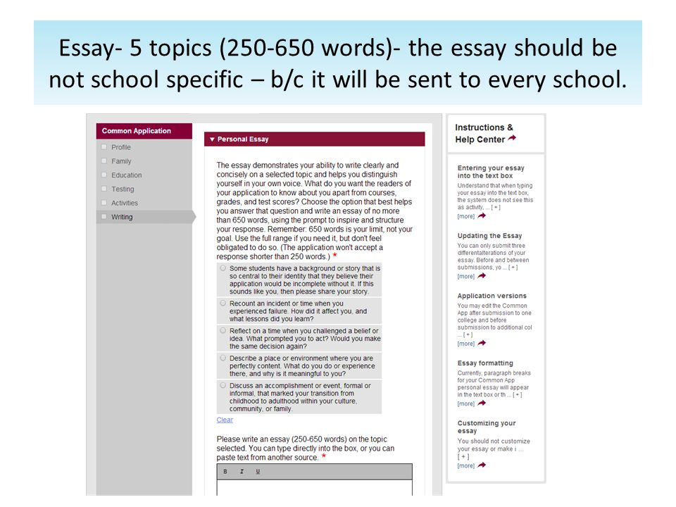 Personal essay submissions