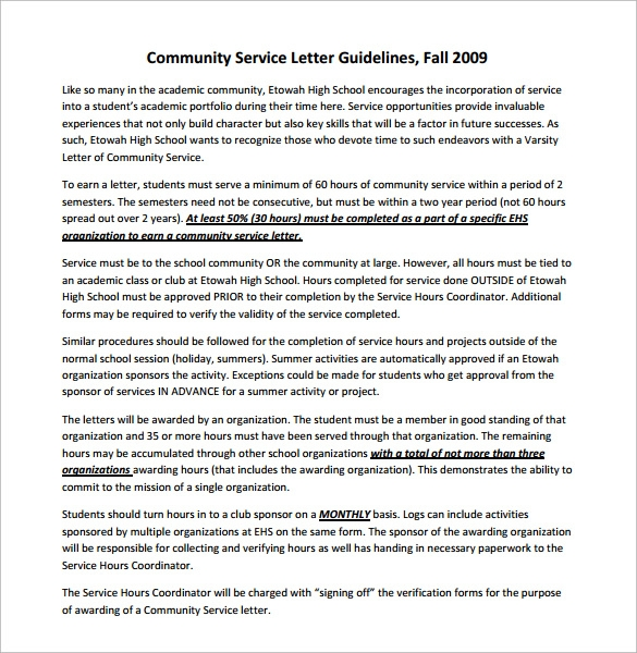 Community service paper example