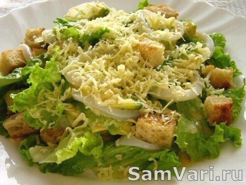 салат из свежих овощей с кальмарами рецепты с фото