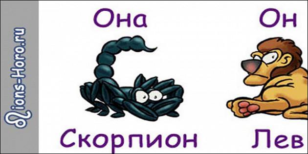 Гороскоп   совместимость лев мужчи  и скорпион женщи