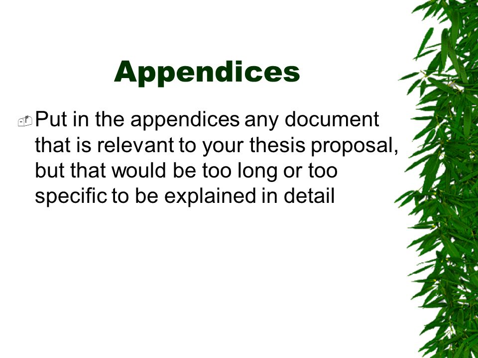Write my what is an appendix in thesis