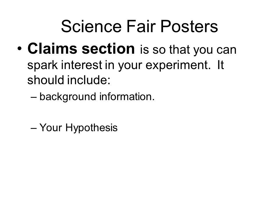 Parts of a Science Fair Project - Experiment - Hypothesis