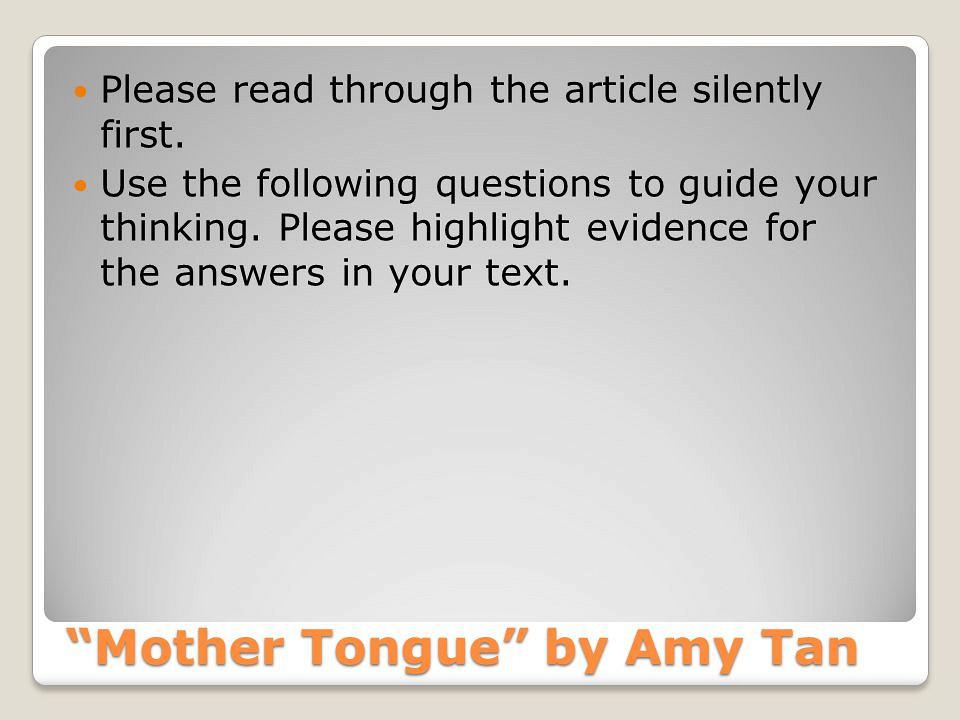 Write my mother tongue amy tan essay summary