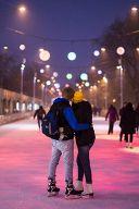 Стереокаток в Парке Горького. Новогодние каникулы. (Вечер)